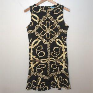 J McLaughlin Black & Gold Equestrian Dress Medium